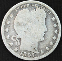 1897 P Barber or Liberty Quarter, Good Condition, Free Shipping in USA, C2096