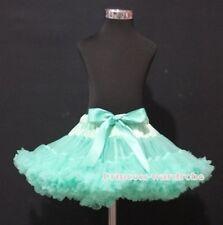 Aqua Blue FULL Pettiskirt Petti Skirt Dance Tutu Dress For Child Girl 1-8Year