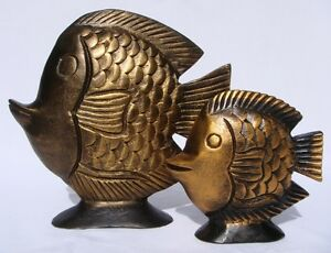 Set of 2 Wooden Fish Gold Handcarved in Thailand Brand New!! Fair Trade