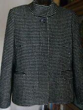 Wool Blend Black/White Long Sleeve Jacket, Size 12, John Lewis