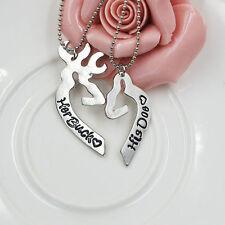 2pcs His Doe Her Buck Couples Necklace Set Boyfriend Girlfriend Husband Wife USA