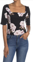 Free Press Women's Size Small Square Neck Elbow Sleeve Black Floral Top NWT