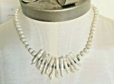 White Pearl Necklace with Stick Pearls Sterling Spacers Clasp