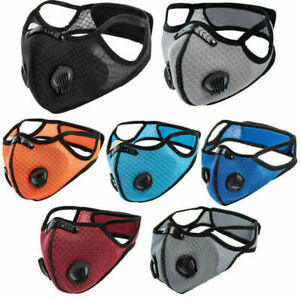 Face Mask Anti Pollution Reusable Washable PM2.5 Two Air vent With Filter UK