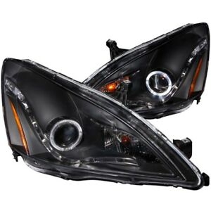 ANZO for 2003-2007 Honda Accord Projector Headlights w/ Halo Black (R8 Style) -