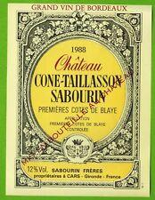 Ancienne Etiquette de vin-Bordeaux(1988)-Château Cone-Taillasson Sabourin-N°449