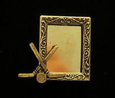 Ice Hockey Puck & Sticks Photo Pin Brooch 24 Karat Gold Plate