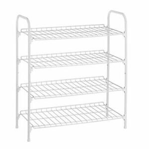 4Tier White Metal Shoe Rack and Accessories Storage SHO01172 White