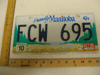 2009 09 MANITOBA CANADA LICENSE PLATE #FCW 695 NATURAL STICKER