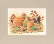 """Pumpkins and Gourds"" Maureen McCarthy original watercolor colorful fall image"