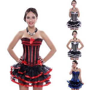 Burlesque Corset Skirt Tutu Dress Costume Moulin Can Hen Night Plus Size 6-24 16