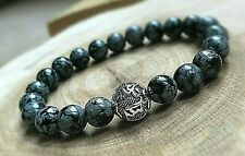Silver Tibetan Mantra Snowflake Obsidian Natural Stone Energy Crystal Bracelet