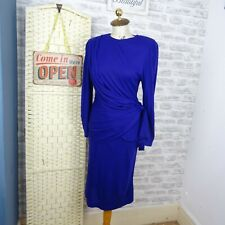 L ROTHSCHILD vintage cobalt tea dress boho draped chunky pencil jersey S D383