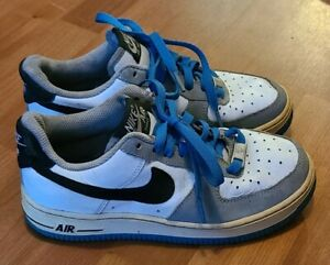 Nike Air Force 1 Classic 82' OG White Grey Blue Low Tops 4Y