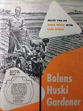 Bolens Fmc 1948 Huski Gardener Walk-Behind Tractor Color Sales Brochure Catalog