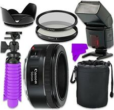 Professional Accessory Kit with Canon EF 50mm f/1.8 STM Lens & Pro Flash