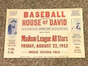 Rare House of David Vintage 1952 Exhibition Baseball Game Poster