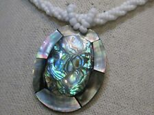 """Vintage Abalone & MOP Beaded Necklace, 18"""", Multi-Strand, Twisted, 1980's"""