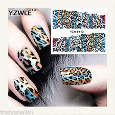Nail Art Water Decals Stickers Wraps Neon Leopard Print Spots Gel Polish (8113)