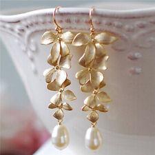 1 Pair Eardrop Elegant Gold Orchid Matte Flower Long Dangle Hook Earrings Trendy