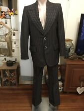 Men's Vintage GLENFORD Suit Brown Pinstripes Flared Pants Matching Jacket 38R