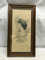 Vintage Victorian Lady With Roses Print in Walnut Wood Frame 21.5in x 11.5in