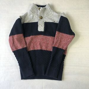 Tommy Hilfiger Boys 1/4 Button Pullover Sweater Blue With Black Stripe Size 5