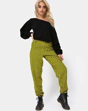 mr79 MOTEL ROCKS Black Kiani Trousers with Fur Hem Size L Large