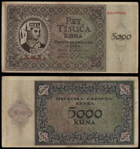 ZA.126} CROATIA 5000 kuna 1943 / 2 letters / WWII Ustasa Germany Italy ally / VF