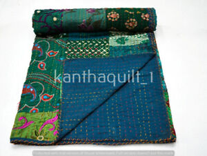 Indian Vintage Quilt Kantha Patchwork Bedspread Cotton Blanket Ralli Gudari