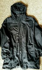 EDDIE BAUER MENS NYLON COAT SIZE LARGE  BLACK W/HOOD