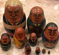 "Vintage Wood Hand PaInted Russian Presidents Leaders  Nesting Dolls 10 Pcs 8"""