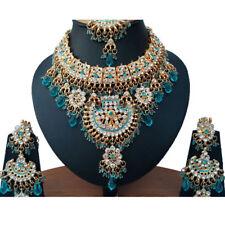 Gold Plated Kundan Zirconic Bollywood Necklace Earring Tikka Jewelry Set ES10-