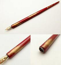 Vintage Japanese Urushi & gold paint dip pen nib holder RED NEW(rare+++)