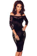 Vestito donna elegante sexy nero abito sera in pizzo vestitino cerimonia DS60879