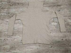 Joules Knitwear Knit Neck Jumper Beige Wool Blend Size 8