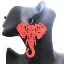 New African Elephant Red wooden Earrings ladies jewellery 6cm