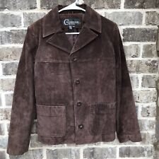 Colebrook & Co Womens Brown Leather Jacket Size Medium Suede Coat Button