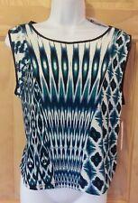 New Bisou Bisou Blue Tribal Ikat Print Patchwork Crop Top Shirt Sz Large $30