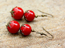Round Rich Red High Grade natural Shell Pearl earrings Handmade New