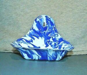 BLUE Swirl SPLATTER WARE WALL MOUNT SOAP DISH HOLDER Enamel Metal