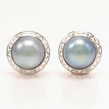 14k White Solid Gold Omega Clip; Australia 14mm Blue Mabe Pearl Earrings