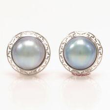 14k White Solid Gold Omega Clip; Australia 14mm Blue Mabe Pearl Earrings