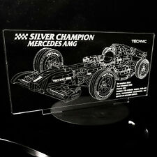 Custom LED Display stand PLAQUE for lego 8458 Silver Champion F1 Racers.