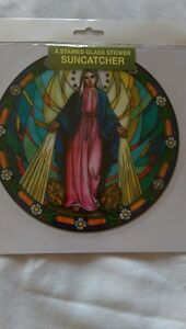 OUR LADY MIRACULOUS MEDAL SUNCATCHER STAIN GLASS WINDOW