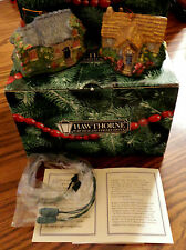 2 Kinkade Candlelight Cottages Lighted Ornaments Hawthorne Collection #107 & 108