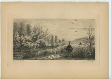 ANTIQUE WOMAN DONKEY SPRING SEASON TREE COUNTRY PATH LANDSCAPE ETCHING ART PRINT