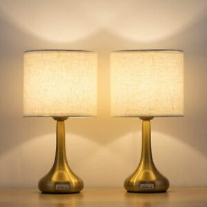 Set of 2 Vintage Bedside Lamp White Lampshade  Gold Base Table Lamps