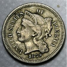 1879 Three Cent Piece. Rare semi-key date with nearly full hair detail!