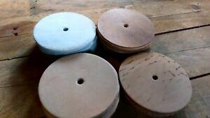"6 x honing Natural Leather Wheel Discs 4""(102mm) strop sharpening make  craft"